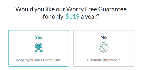 Description of the worry-free add-on cost for ZenBusiness