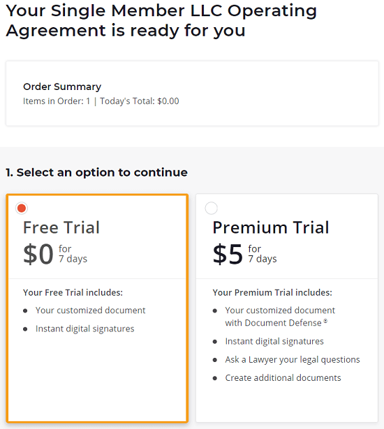 RocketLawyer new pricing for 7-day free trial and premium trial
