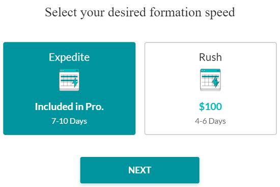 Screenshot of rush filing addon service from ZenBusiness website