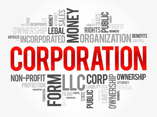 Corporation and different incorporation entity types text in different sizes and colors