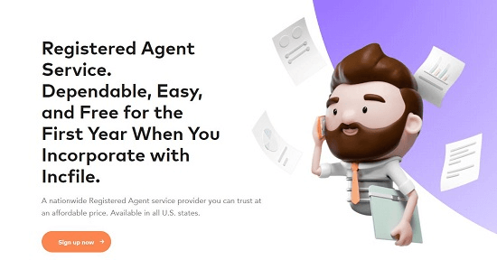 Screenshor from Incfile registered agent landing page