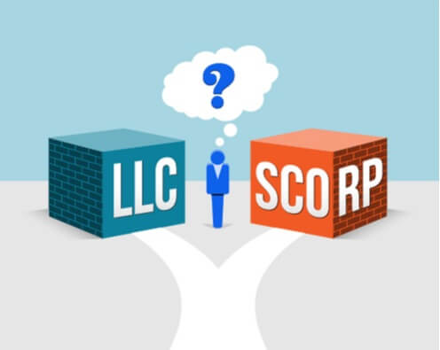 Showing one path that split into two paths where a user needs to take a decision between the path to LLC Vs corporation