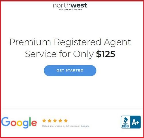 Screenshot of the Registered Agent service pricing by NorthWestRegisteredAgent