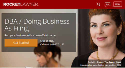 Screenshot of RocketLawyer DBA landing page