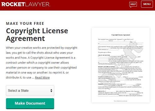 Screenshot of RocketLawyer copyright landing page