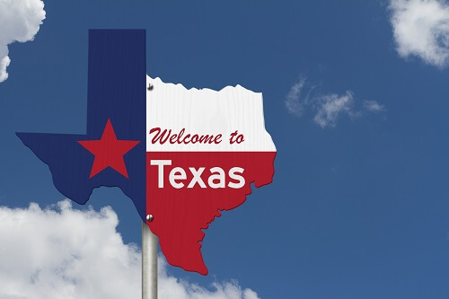 State of Texas sign shaped as the map of state of Texas